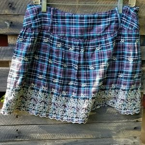 Plaid embroidered Rue 21 mini skirt